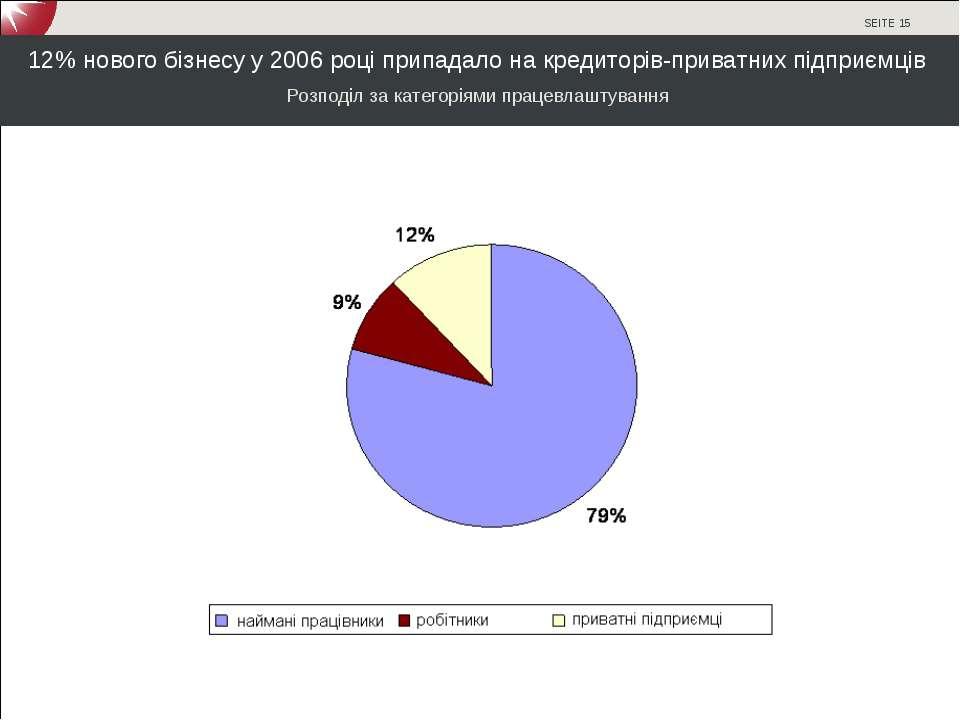 12% нового бізнесу у 2006 році припадало на кредиторів-приватних підприємців ...