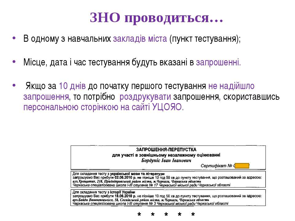 ЗНО проводиться… В одному з навчальних закладів міста (пункт тестування); Міс...