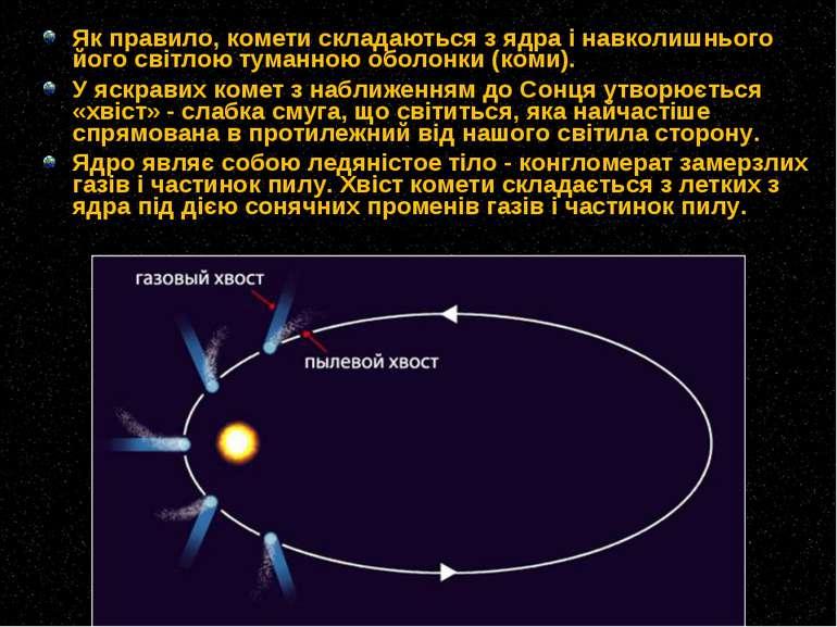 Як правило, комети складаються з ядра і навколишнього його світлою туманною о...
