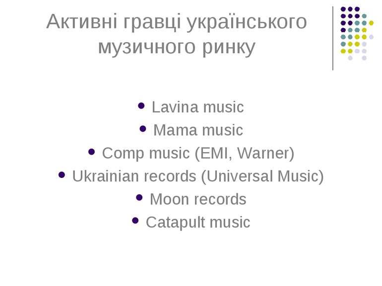 Активні гравці українського музичного ринку Lavina music Mama music Comp musi...
