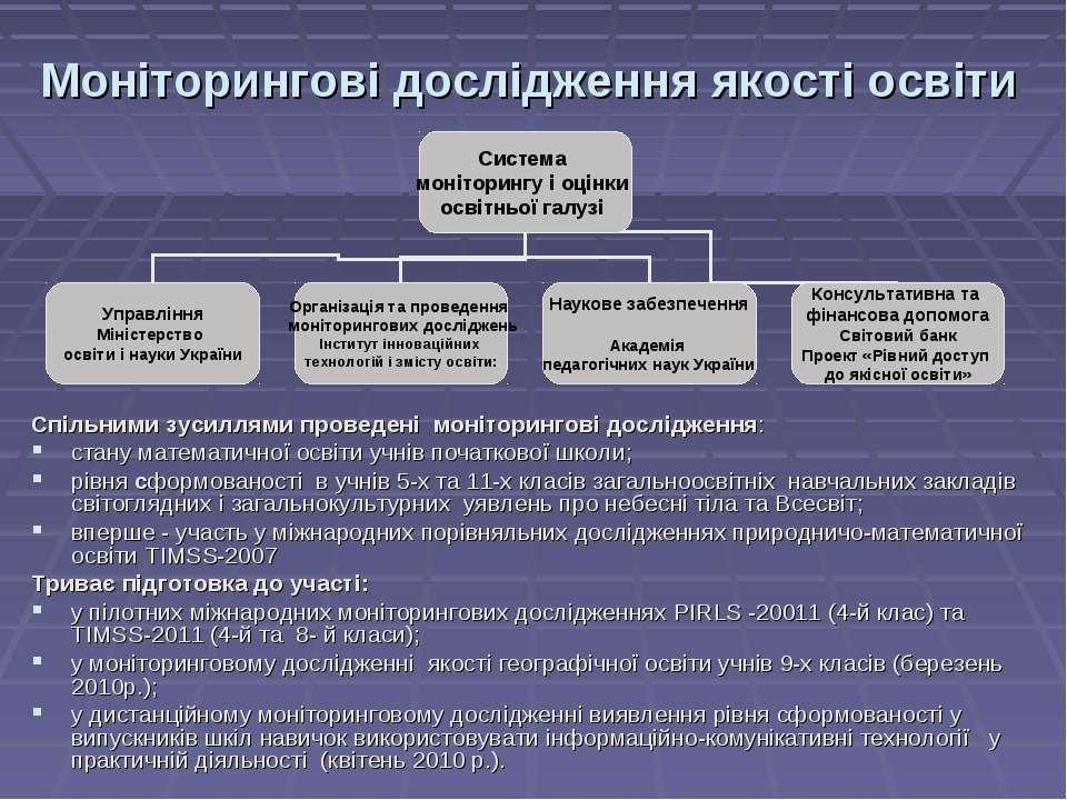 Моніторингові дослідження якості освіти Спільними зусиллями проведені монітор...