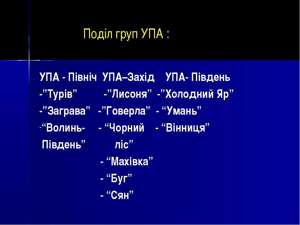 """Поділ груп УПА : УПА - Північ УПА–Захід УПА- Південь -""""Турів"""" -""""Лисоня"""" -""""Хол..."""
