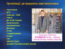 Організації, де працюють наші випускники Укртелеком МТС Київстар - GSM Укрсат...