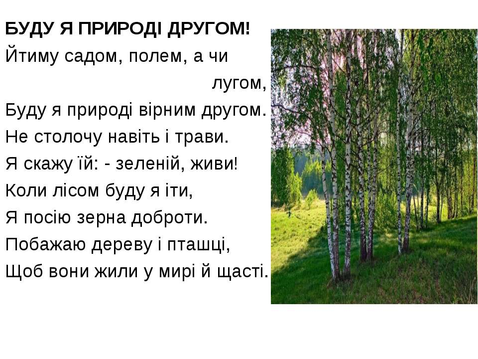 БУДУ Я ПРИРОДІ ДРУГОМ! Йтиму садом, полем, а чи лугом, Буду я природі вірним ...