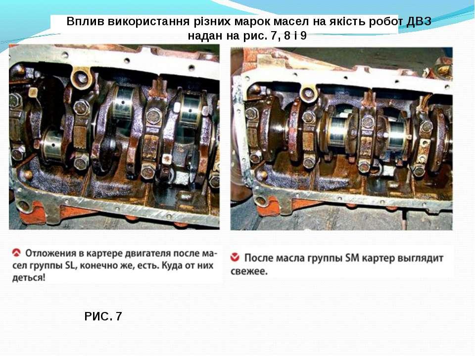 РИС. 7 Вплив використання різних марок масел на якість робот ДВЗ надан на рис...