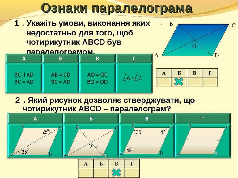Ознаки паралелограма 1⁰. Укажіть умови, виконання яких недостатньо для того, ...