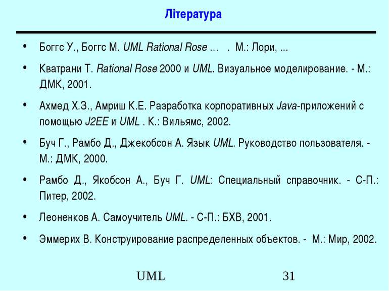 Література Боггс У., Боггс М. UML Rational Rose … . М.: Лори, ... Кватрани Т....