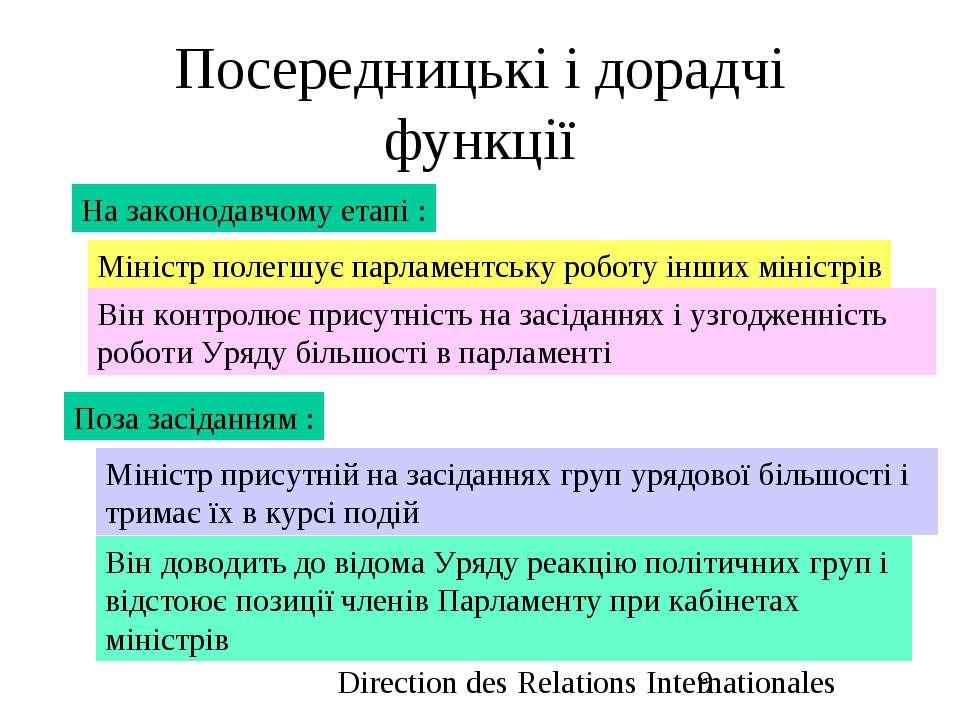 Посередницькі і дорадчі функції На законодавчому етапі : Міністр полегшує пар...