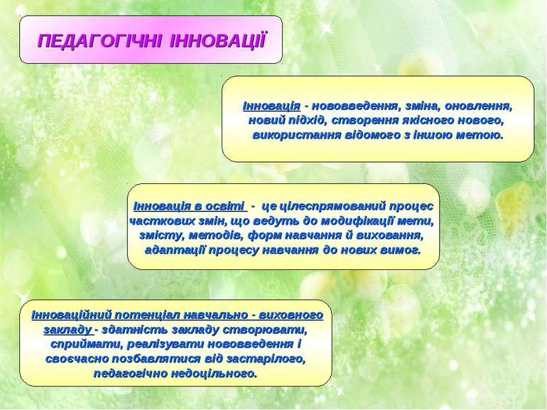 ПЕДАГОГІЧНІ ІННОВАЦІЇ Інновація - нововведення, зміна, оновлення, новий підхі...