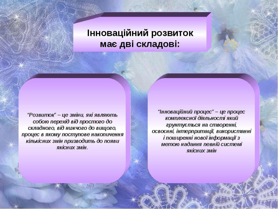 """Інноваційний розвиток має дві складові: """"Розвиток"""" – це зміни, які являють со..."""