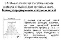 У.А. Шухарт пропонував статистичні методи контролю, серед яких була контрольн...