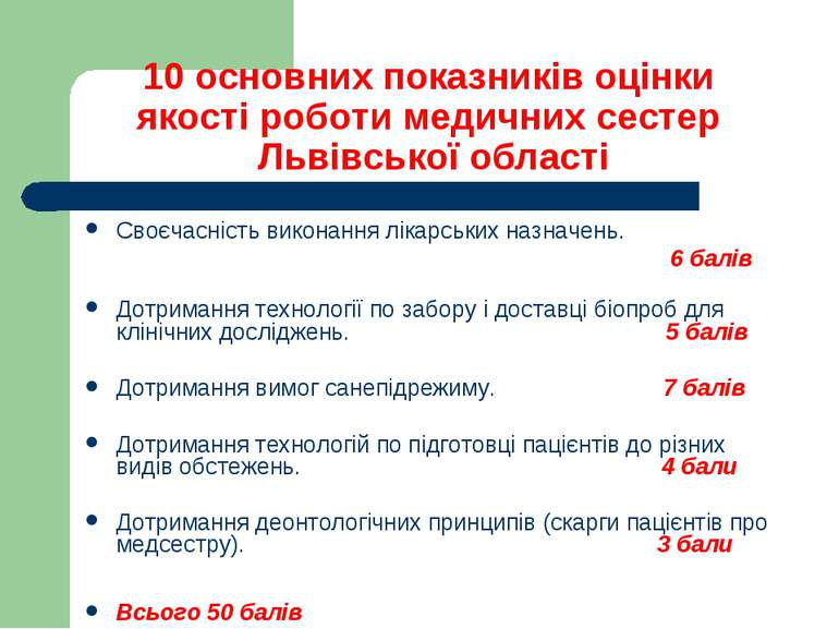 10 основних показників оцінки якості роботи медичних сестер Львівської област...