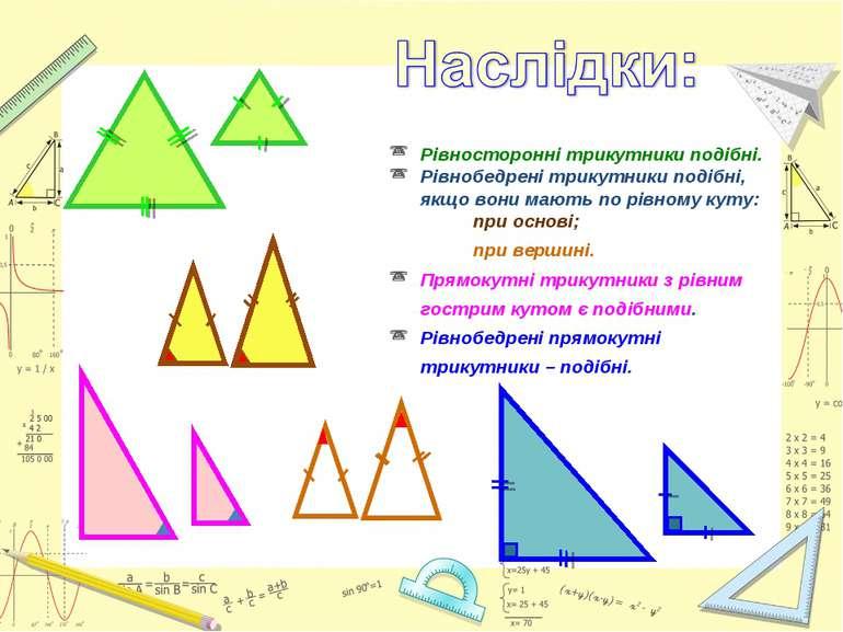 Рівносторонні трикутники подібні. Рівнобедрені трикутники подібні, якщо вони ...