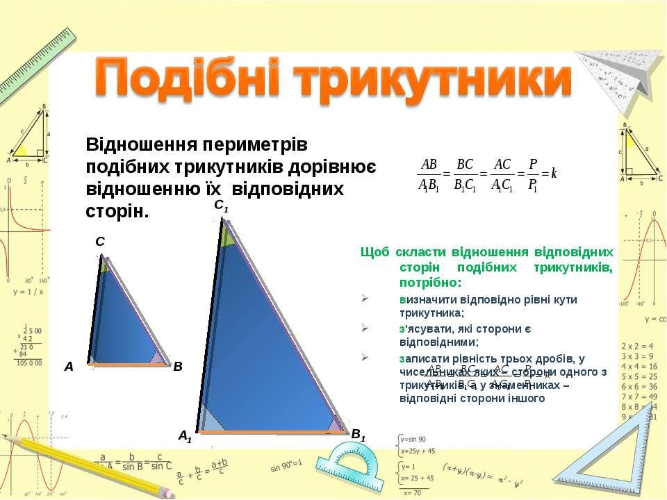 Щоб скласти відношення відповідних сторін подібних трикутників, потрібно: виз...