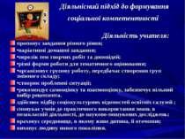 Діяльнісний підхід до формування соціальної компетентності Діяльність учителя...