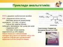 Приклади анальгетиків: «+» є дешевим знеболюючим засобом «-» - порушення кліт...