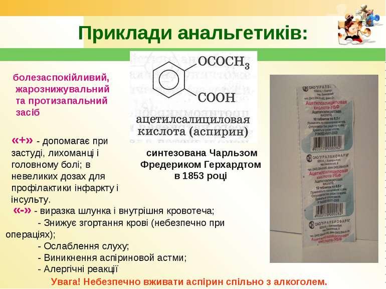 Приклади анальгетиків: болезаспокійливий, жарознижувальний та протизапальний ...