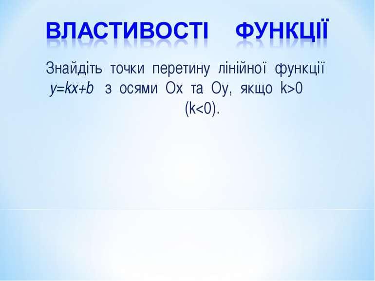 Знайдіть точки перетину лінійної функції y=kx+b з осями Ох та Оу, якщо k>0 (k