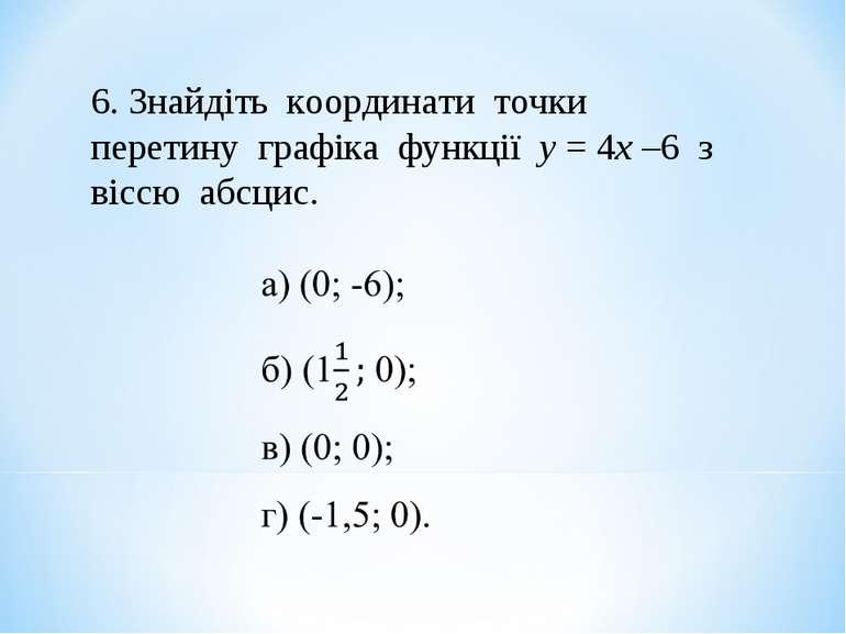 6. Знайдіть координати точки перетину графіка функції у = 4х –6 з віссю абсцис.