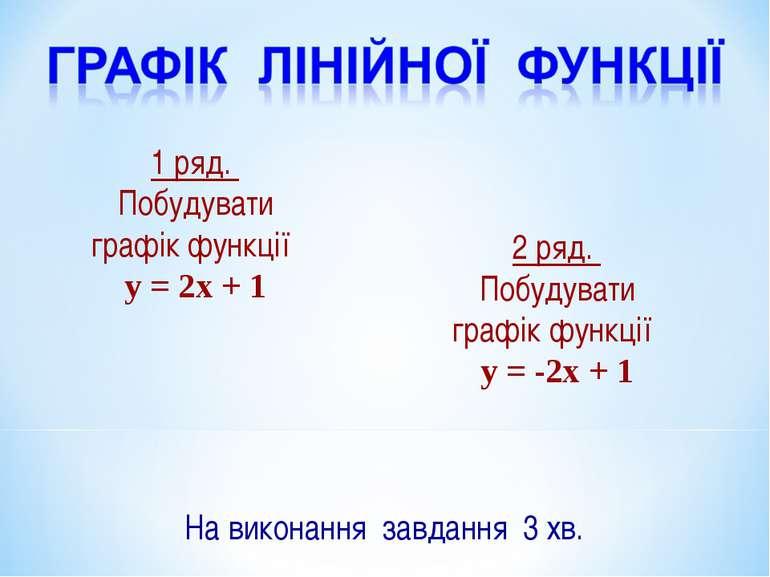 1 ряд. Побудувати графік функції y = 2x + 1 2 ряд. Побудувати графік функції ...