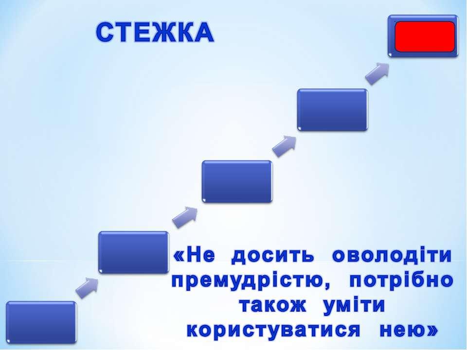 стежка «Не досить оволодіти премудрістю, потрібно також уміти користуватися нею»