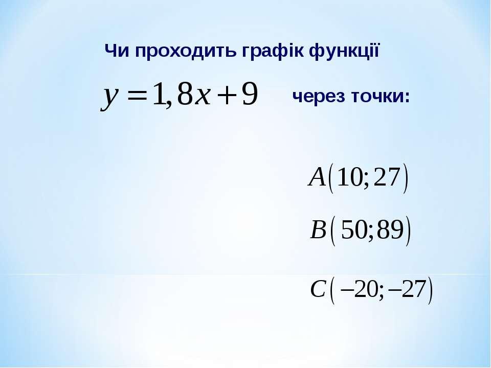 Чи проходить графік функції через точки: