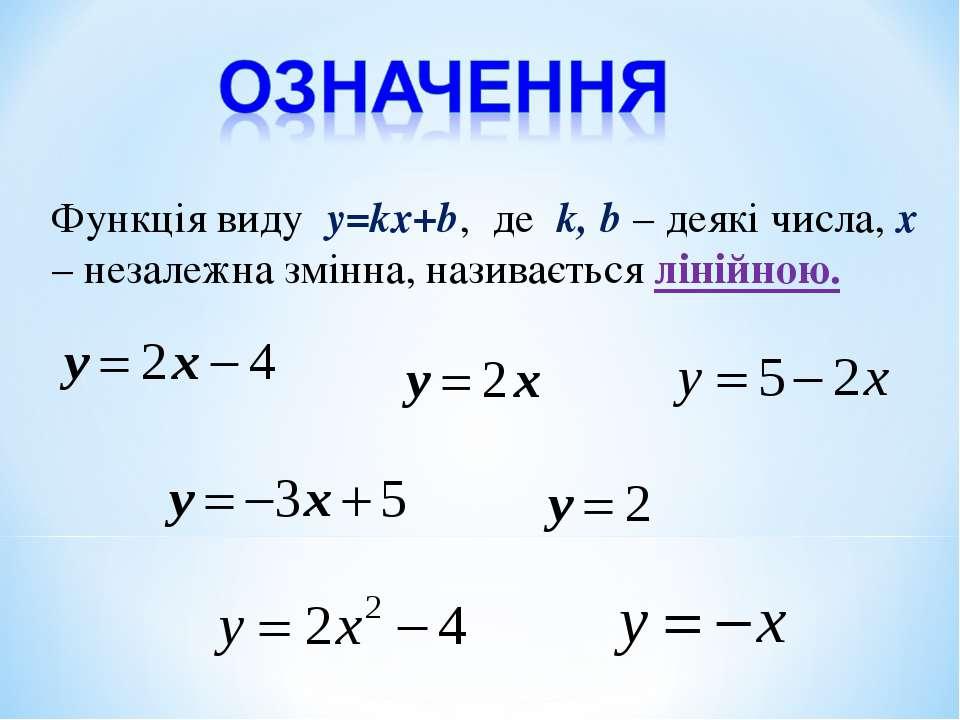 Функція виду y=kx+b, де k, b – деякі числа, х – незалежна змінна, називається...