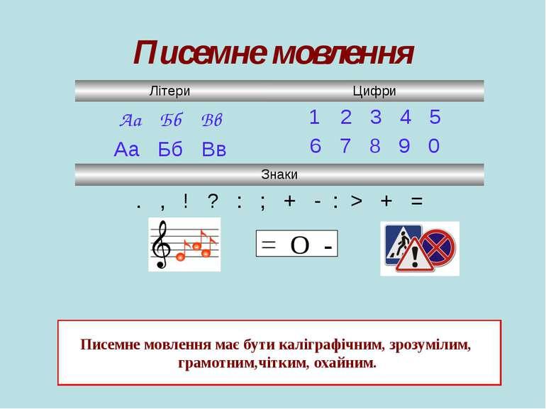 Писемне мовлення = O - Писемне мовлення має бути каліграфічним, зрозумілим, г...