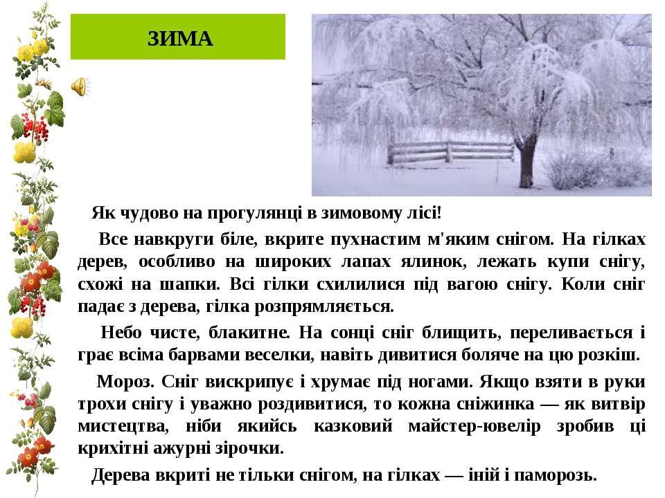 ЗИМА Як чудово на прогулянці в зимовому лісі! Все навкруги біле, вкрите пухна...