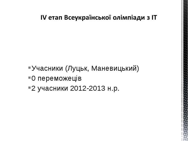 Учасники (Луцьк, Маневицький) 0 переможеців 2 учасники 2012-2013 н.р.