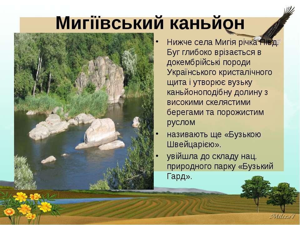 Мигіївський каньйон Нижче села Мигія річка Півд. Буг глибоко врізається в док...