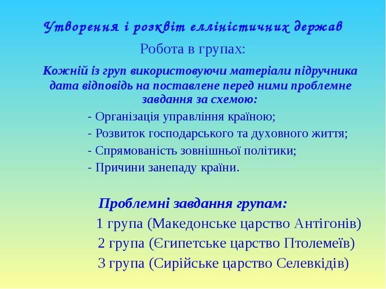 Утворення і розквіт елліністичних держав Робота в групах: Кожній із груп вико...