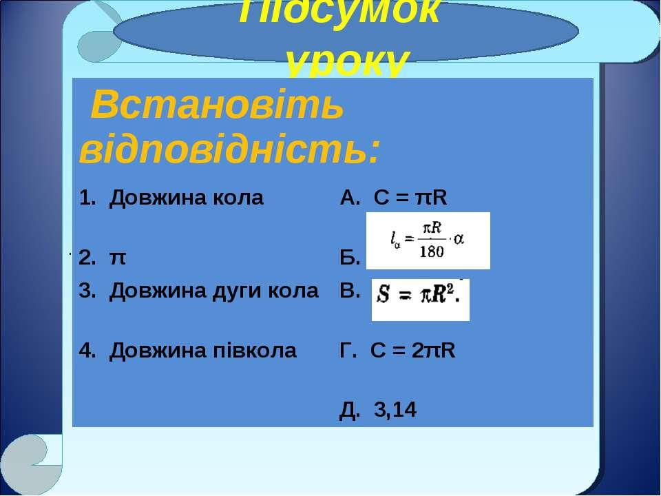 . Підсумок уроку Встановіть відповідність: 1. Довжина кола А. С = πR 2. π Б. ...