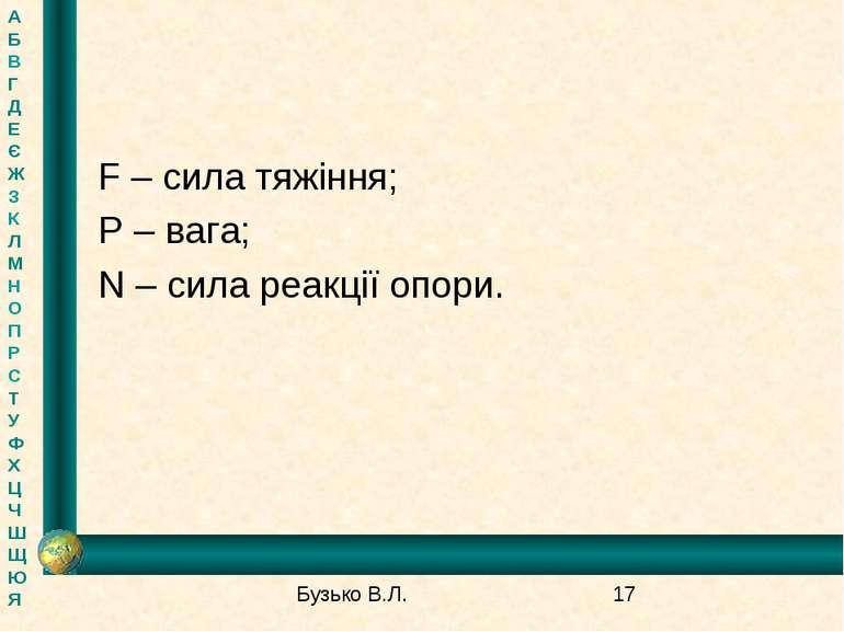 F – сила тяжіння; P – вага; N – сила реакції опори. А Б В Г Д Е Є Ж З К Л М Н...