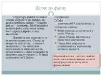 Шлях до файлу Структуру файлів та папок можна зобразити як дерево, де диск є ...