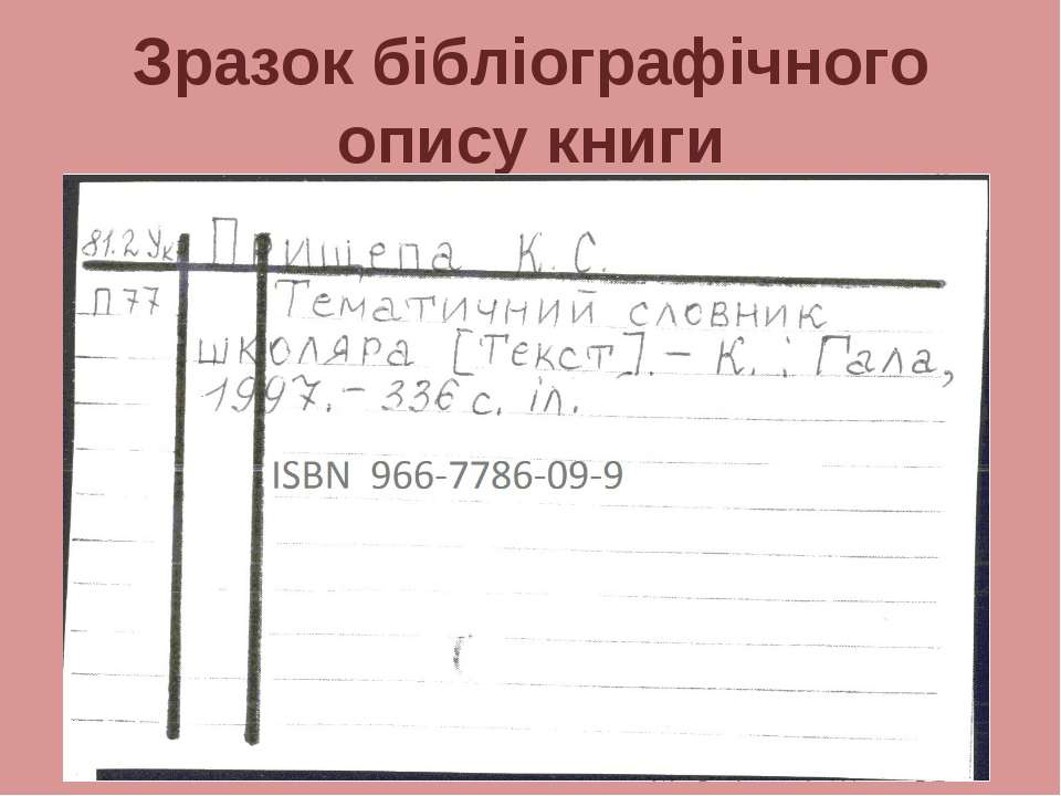 Зразок бібліографічного опису книги