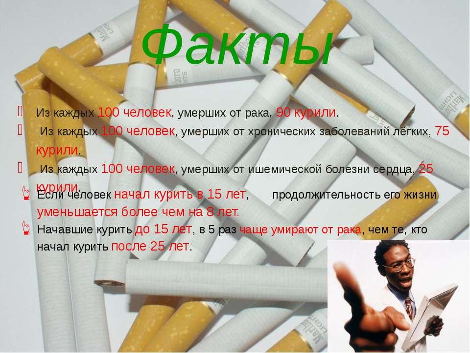 Факты Из каждых 100 человек, умерших от рака, 90 курили. Из каждых 100 челове...