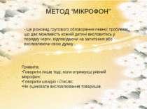 """МЕТОД """"МІКРОФОН"""" - Це різновид групового обговорення певної проблеми, що дає ..."""