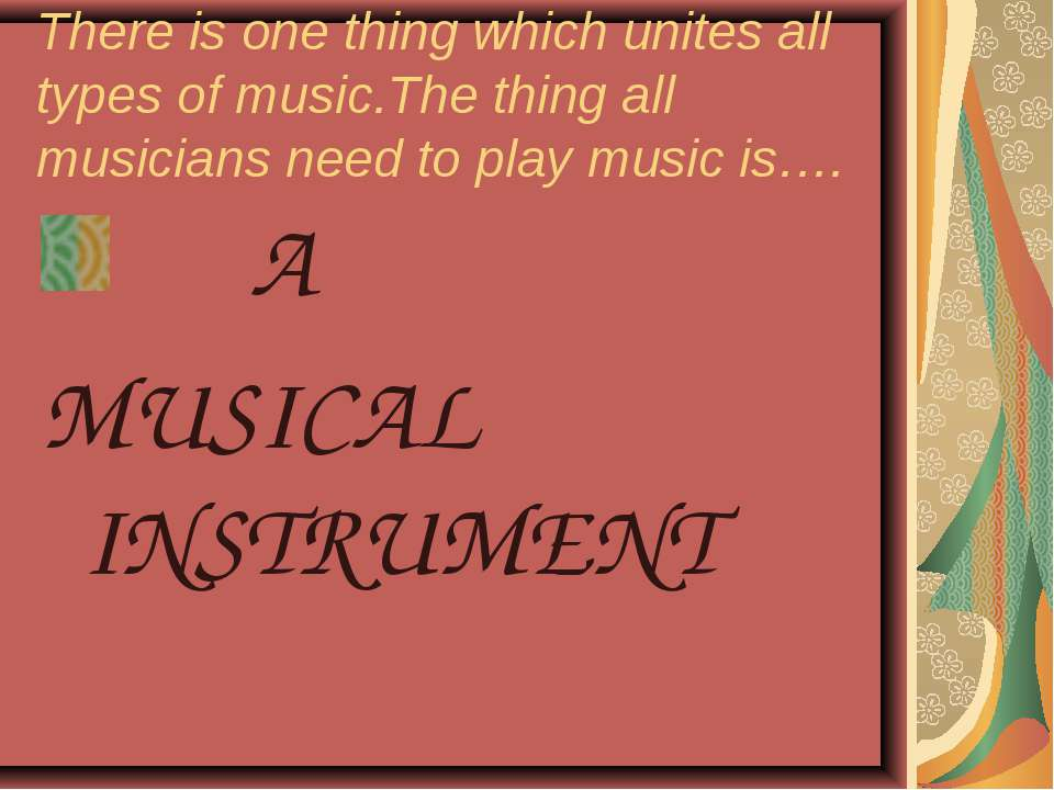 There is one thing which unites all types of music.The thing all musicians ne...