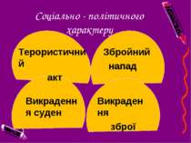 Соціально - політичного характеру Терористичний акт Викрадення суден Збройний...