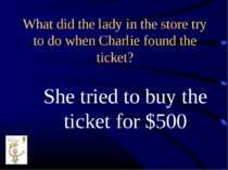 What did the lady in the store try to do when Charlie found the ticket? She t...