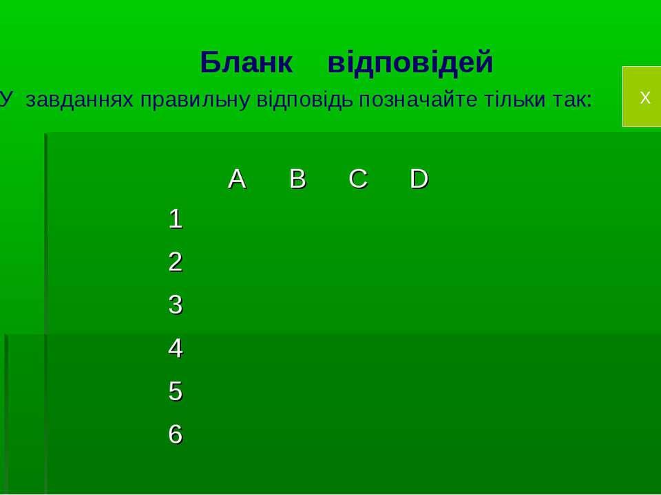 Бланк відповідей У завданнях правильну відповідь позначайте тільки так: X A B...