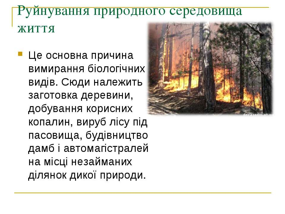 Руйнування природного середовища життя Це основна причина вимирання біологічн...
