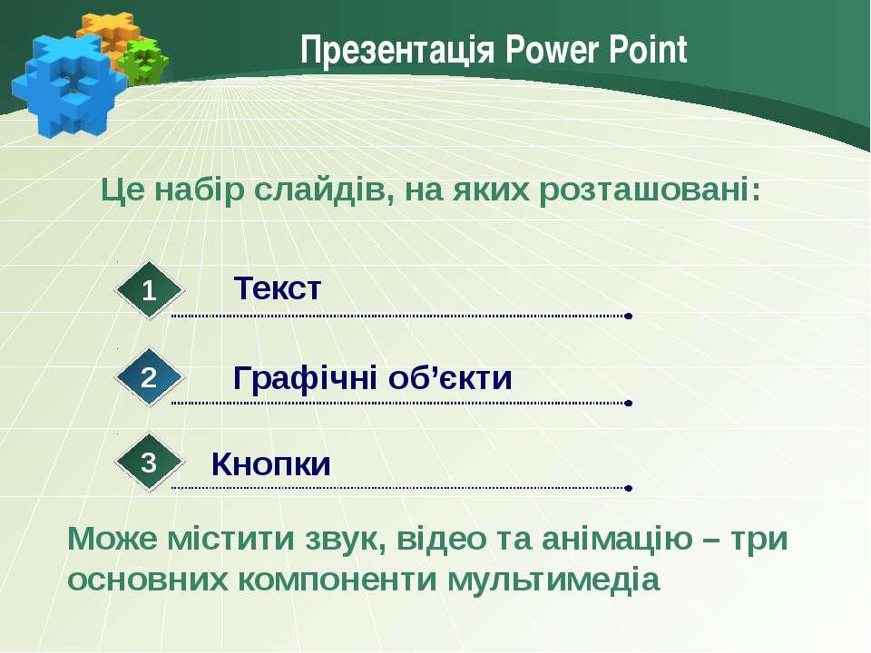 Презентація Power Point Це набір слайдів, на яких розташовані: Може містити з...