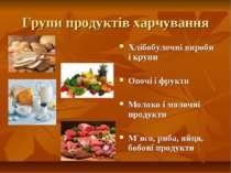 Групи продуктів харчування Хлібобулочні вироби і крупи Овочі і фрукти Молоко ...