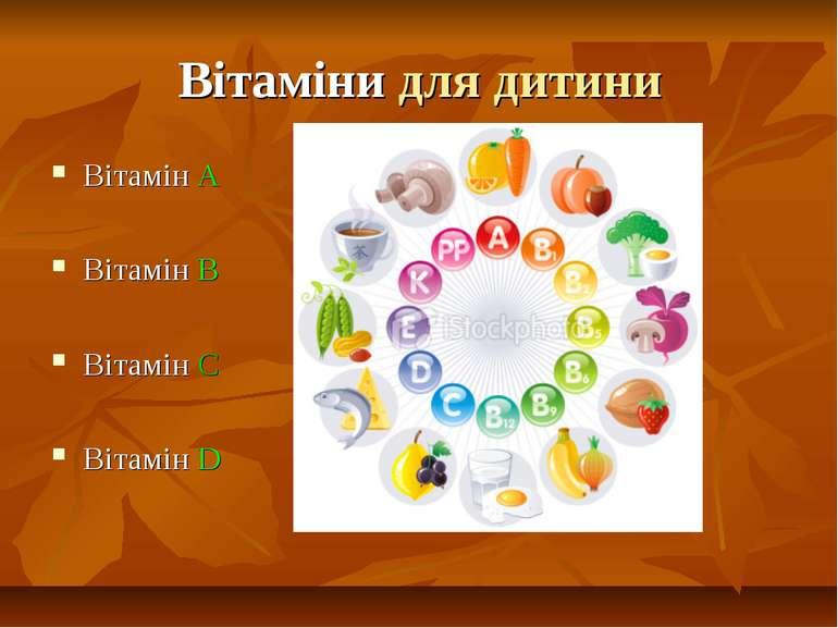 Вітаміни для дитини Вітамін А Вітамін В Вітамін С Вітамін D