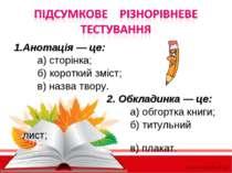 Підсумкове різнорівневе Тестування 1. Анотація — це: а) сторінка; б) короткий...