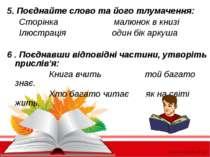 5. Поєднайте слово та його тлумачення: Сторінка малюнок в книзі Ілюстрація од...