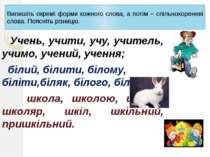 Випишіть окремі форми кожного слова, а потім – спільнокореневі слова. Поясніт...
