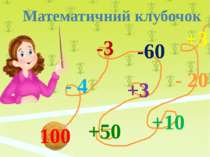 100 - 4 -3 -60 +3 +50 +10 - 20 +3 Математичний клубочок